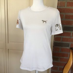 Pink Victoria's Secret Tee with Sequins Size Small